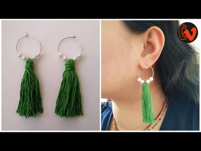 How to make Tassel Hoop Earrings at home .  Tutorial