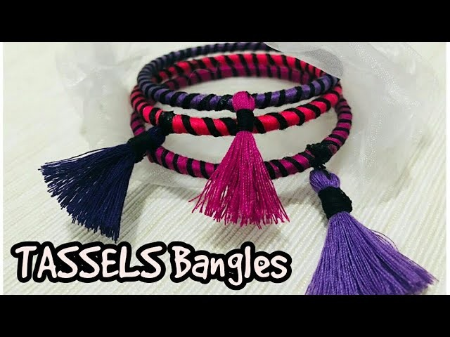 How to make thread bangles with tassels. designed thread bangles.making easy bangles at home