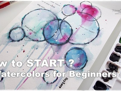 How to Start? Watercolors Abstract for Beginners ♡ Maremi's Small Art ♡