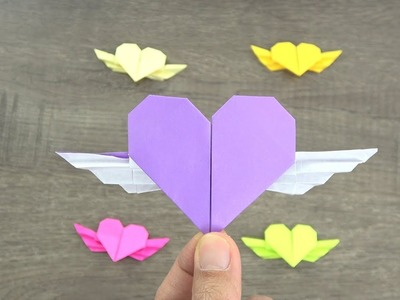 Origami Heart - How to make a Paper Heart with wings , Valentine gifts