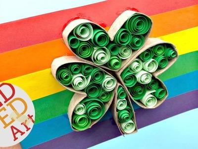 Paper Quilling Shamrock Card DIY   St Patrick's Day Shamrock Card DIY