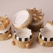 Sea Shell Trinket Box Rope Boxes Black White Striped Cute Handmade Little Storage Items (Medium Item)
