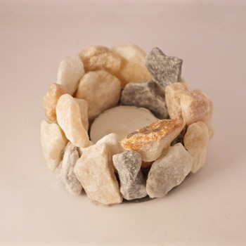 Stone Candle Tea Light Handmade Holder Glitter Effect Sparkle In Light Themed (Medium Item)