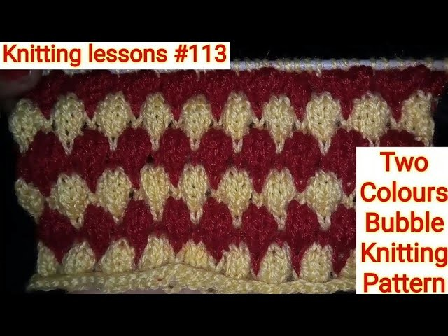 Two Colours Bubble Knitting Pattern Baby Sweater Design