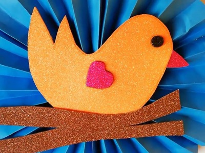 Valentine Day Card - How to make paper Bird, Sparrow | Kids Paper Arts and Crafts