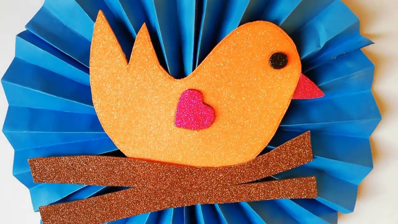 Valentine Day Card - How to make paper Bird, Sparrow   Kids Paper Arts and Crafts