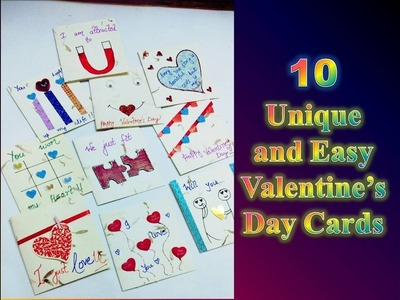 10 Valentine day cards. Easy and Unique handmade cards.Unique valentine gift ideas