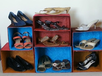 DIY Best out of Waste - Shoe Rack Organizer (Recycle n Reuse)
