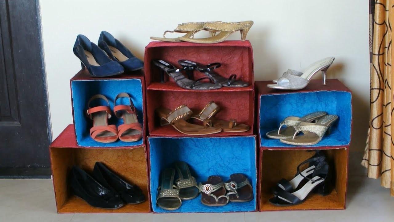 DIY Best out of Waste - Shoe Rack Organizer (Recycle n Reuse)