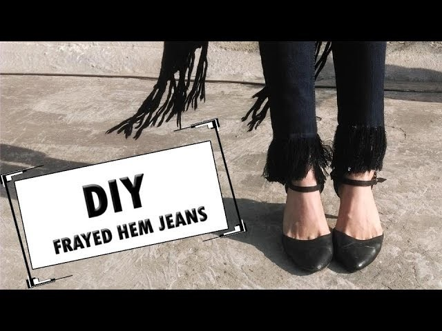 DIY Frayed Hem Jeans - How to make Frayed jeans (hindi)