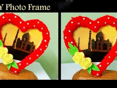 DIY Photo Frame Using Woolen And Cardboard || Valentine's Day Gift Idea || DIY CraftsLane