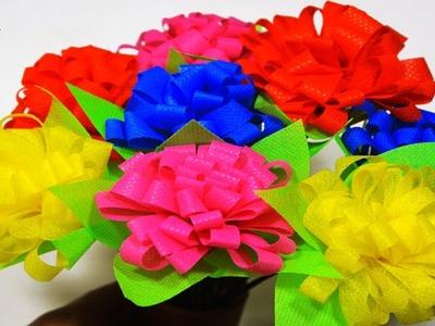 DIY Shopping Bags Flower Sticks || Handmade Flower Sticks || Tote Bags Make Flower