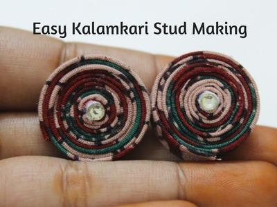 Easy Kalamkari Stud making tutorial|Fabric stud making|how to make stud in fabric
