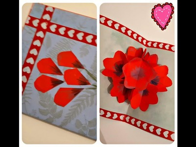 Handmade Greeting Card || Easy Popup Card for Valentine's Day || 3D Floral Card