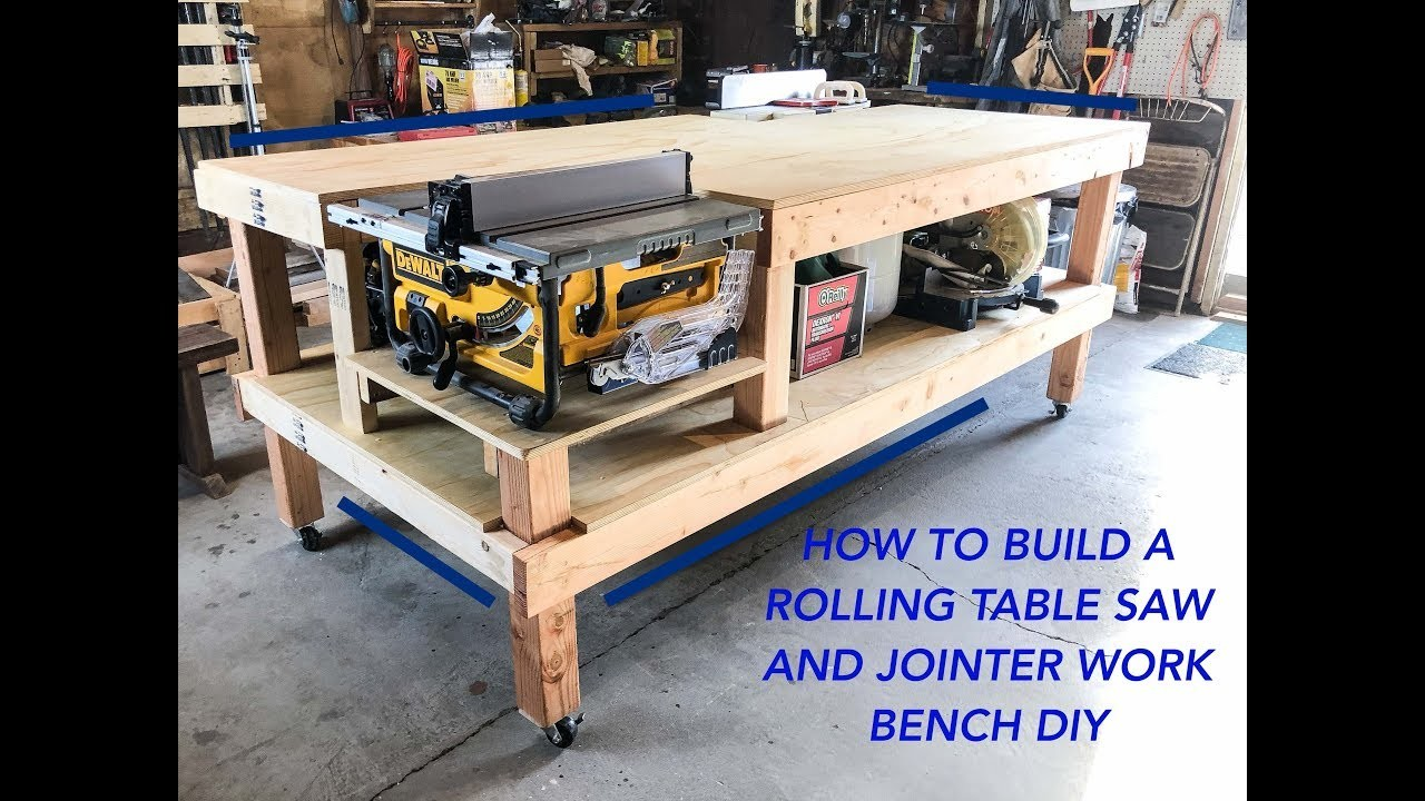 Magnificent How To Make A Rolling Table Saw And Jointer Work Bench Diy Home Interior And Landscaping Eliaenasavecom