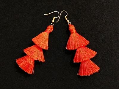 How to Make Silk Thread Layered Tassel Earrings at Home | Handmade Earrings | DIY | Craftastic
