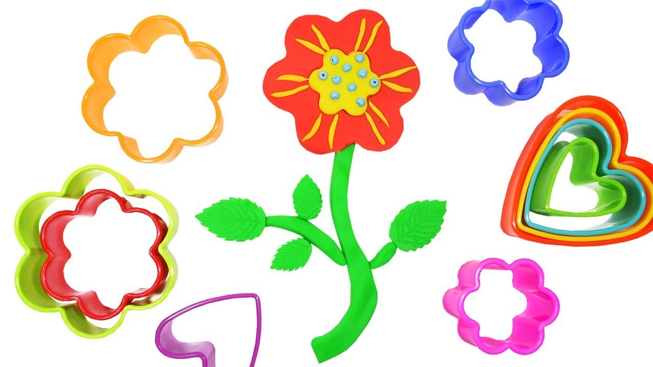 Learn Colors Play Doh Rainbow Flower. How To Make Flower. DIY Crafts for Kids Clay Modeling Children