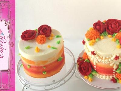 Red Orange Yellow Flower Buttercream Cake Tutorial