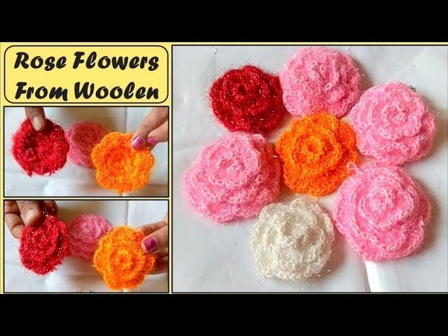 Rose flower from woolen | Roses in different color | easy tutorial