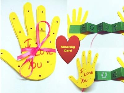 Valentine day pop up card.Handmade card. Unique Valentine day gift ideas