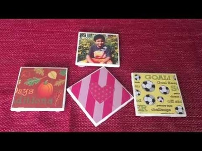 Valentine's day gift idea: DIY Coster || DIY TILES COSTER  || how to make coasters with pictures