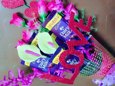 Valentine's day special chocolate bouquet making  DIY  GIFT idea  How to make bouquet