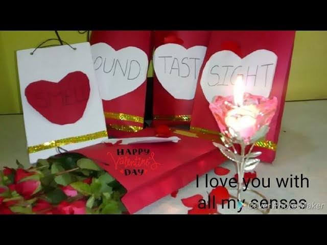 Valentine special 5 senses gift idea. 5 senses gift for him. Diy 5 senses gift