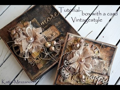 Card with a box- in vintage style