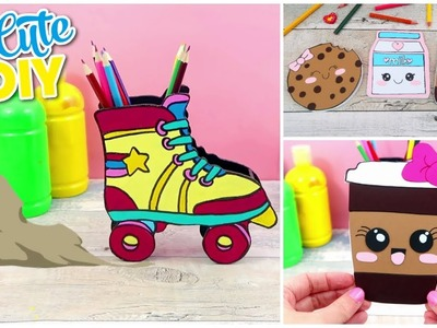 DIY MINI NOTEBOOKS   3  Easy & Cute Designs! + DIY  Pencil holder roller skates