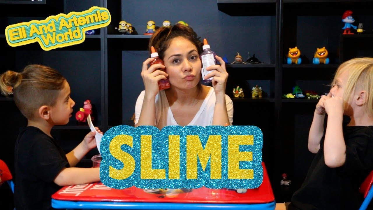 Elmer's glue slime at home with small glue bottle and food coloring