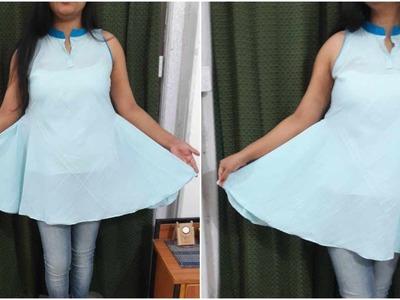 Flared Kurti Top In Less Fabric | DIY Top cutting and stitching
