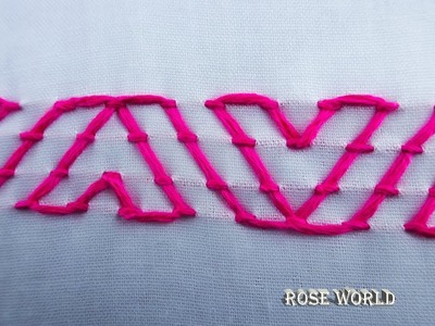 Hand embroidery border line stitch video tutorial|step by step basic embroidery stitch design