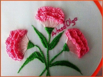 Hand embroidery: Carnation flowers - Step by step   Flores de clavel