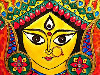 How To Do Glass Painting On Acrylic Board | Durga Art | Detail Step-by-Step Explanation