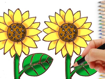 How to Draw a Sunflower Easy Step by Step for Beginners - Learn to Draw Flowers with Coloring Pages