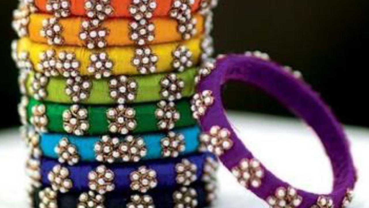How to make Designer silk thread bangles  pearl chain bangles  wrapped bangles. !!