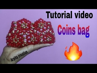 How to make easy and simple way  innovative design beads  coins bag (পুঁতির ব‍্যাগ)