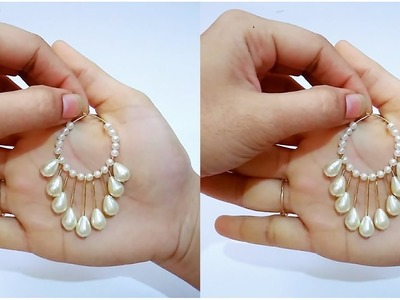 How To Make Simple Pearl Earrings.Hoop Earrings At Home. !