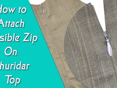 Invisible zip stitching malayalam tutorial, how to attach invisible zip on a churidar top