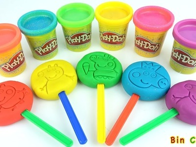 Learn Colors - Peppa Pig Popsicle Vegetables Strawberry Molds Surprise Eggs Play Doh - Bin Channel