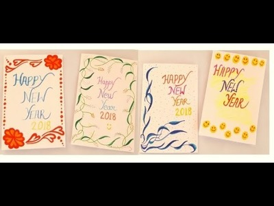 New Year Greeting card || 2018 || last minute card || easy making