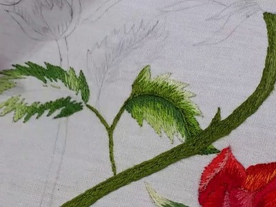 Rose Leaf And Branch .  Hand Embroidery
