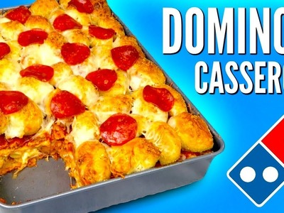 THE DOMINO'S CASSEROLE - How To Make Pizza, Pasta, & Chicken Wings Lasagna DIY