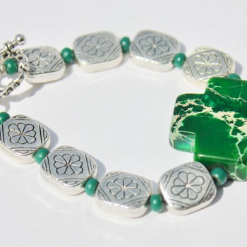 Authentic Malachite Cross Bracelet