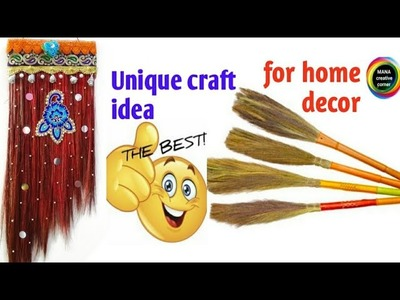 Best out of waste Broom craft idea#Diy wall hanging with broom#beautiful broom craft for home decor
