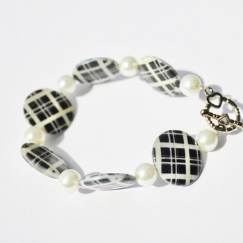 Black and White Plaid Bracelet with Glass Pearl Accent Beads