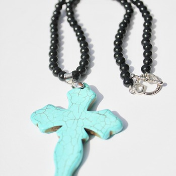 Black Bead Necklace with Turquoise Cross Pendant