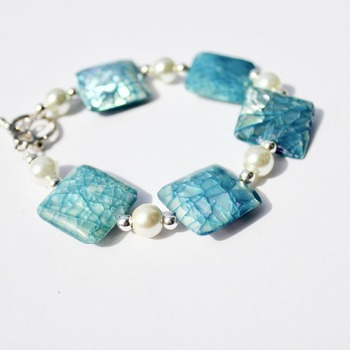 Blue Iridescent Bracelet with Glass Pearl Accent Beads