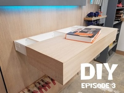 DIY Crazy Floating Oak Shelf. Fireplace mantel with hidden blum softclose drawer Epi. 3
