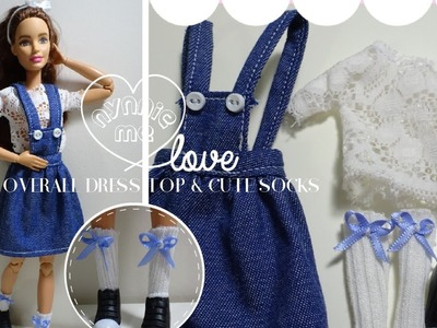 DIY How to make ; Jean overall dress , white lace top and cute socks for dolls. | nynnie me